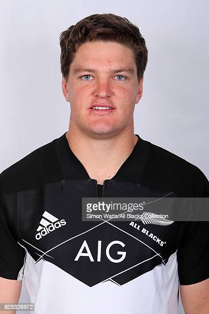 Scott Barrett poses during the All Blacks End of Year Tour 2016 Headshots Session at Auckland International Airport Novotel on October 28 2016 in...