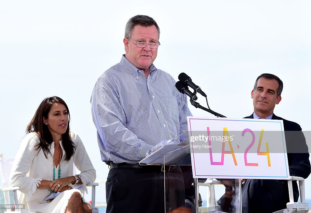 Scott Blackmun speaks in front of Olympian Janet Evans and Los Angeles Mayor Eric Garcetti at a press conference to officially launch a Los Angeles...