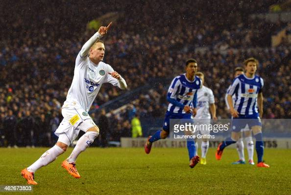 Scott Boden of Macclesfield Town celebrates scoring their first goal from the penalty spot during the FA Cup third round replay between Sheffield...