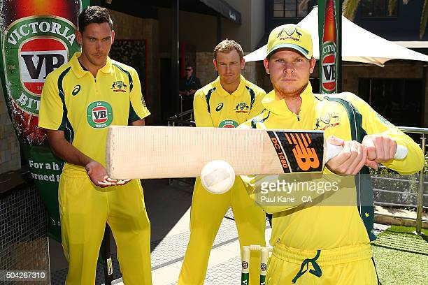Scott Boland George Bailey and Steven Smith have a game of cricket while wearing Victoria Bitter ODI series shirts featuring the names of competition...
