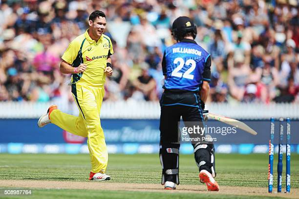 Scott Boland of Australia celebrates the wicket of Kane Williamson of the Black Caps during the 3rd One Day International cricket match between the...
