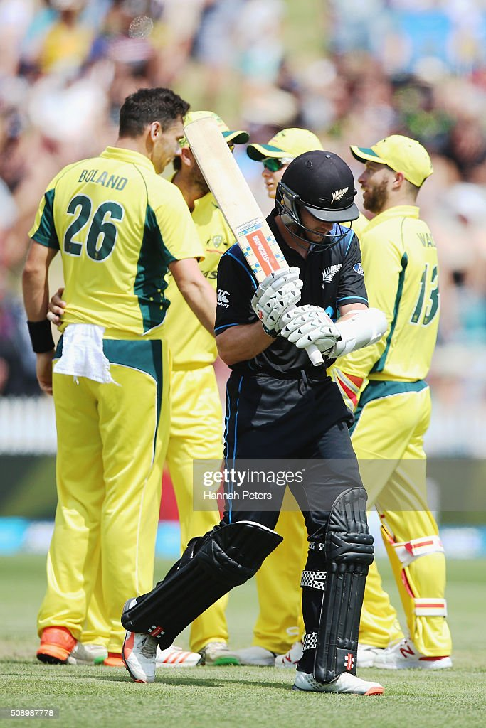 Scott Boland of Australia celebrates the wicket of Kane Williamson of the Black Caps during the 3rd One Day International cricket match between the New Zealand Black Caps and Australia at Seddon Park on February 8, 2016 in Hamilton, New Zealand.