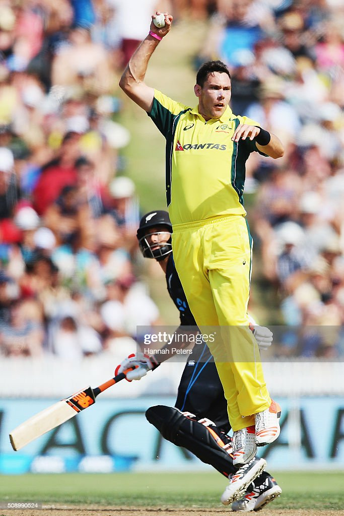 Scott Boland of Australia fields during the 3rd One Day International cricket match between the New Zealand Black Caps and Australia at Seddon Park on February 8, 2016 in Hamilton, New Zealand.