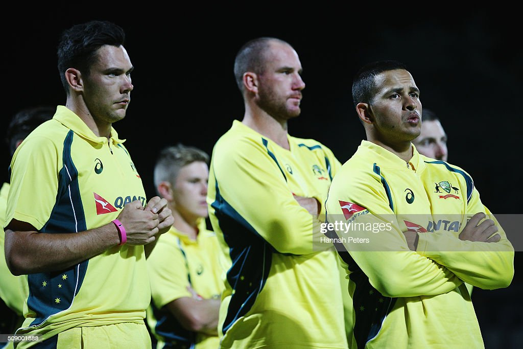 Scott Boland of Australia, Josh Hastings of Australia and Usman Khawaja look on after losing the 3rd One Day International cricket match between the New Zealand Black Caps and Australia at Seddon Park on February 8, 2016 in Hamilton, New Zealand.