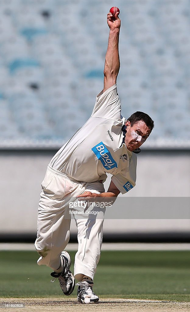 Scott Boland of the Bushrangers bowls during day one of the Sheffield Shield match between the Victorian Bushrangers and the Queensland Bulls at Melbourne Cricket Ground on February 18, 2013 in Melbourne, Australia.