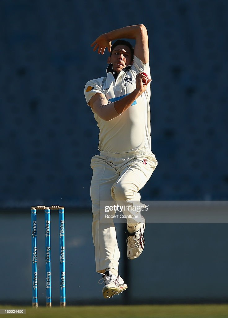 Scott Boland of the Bushrangers bowls during day three of the Sheffield Shield match between the Victoria Bushrangers and the Western Australia Warriors at Melbourne Cricket Ground on November 1, 2013 in Melbourne, Australia.