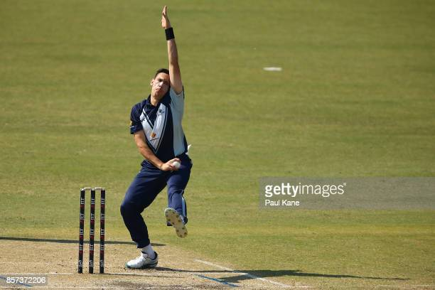Scott Boland of the Bushrangers bowls during the JLT One Day Cup match between Victoria and Tasmania at WACA on October 4 2017 in Perth Australia