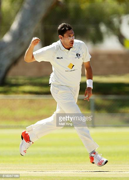 Scott Boland of the Bushrangers celebrates taking the wicket of Ed Cowan of the Blues during day three of the Sheffield Shield match between Victoria...