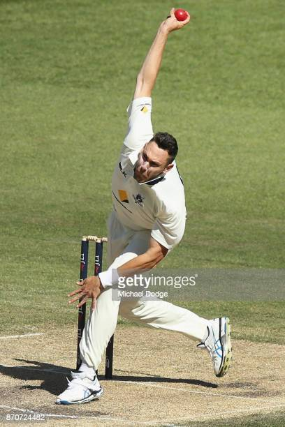Scott Boland of Victoria bowls during day three of the Sheffield Shield match between Victoria and South Australia at Melbourne Cricket Ground on...