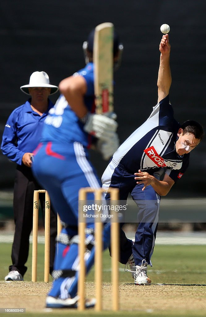 Scott Boland of Victoria bowls during the International tour match between the Victorian 2nd XI and the England Lions at Junction Oval on February 7, 2013 in Melbourne, Australia.
