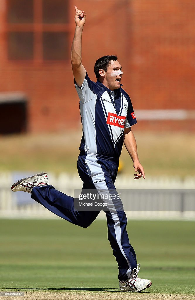 Scott Boland of Victoria celebrates a wicket during the International tour match between the Victorian 2nd XI and the England Lions at Junction Oval on February 7, 2013 in Melbourne, Australia.