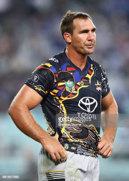 Scott Bolton of the Cowboys looks on during the round 10 NRL match between the Canterbury Bulldogs and the North Queensland Cowboys at ANZ Stadium on...