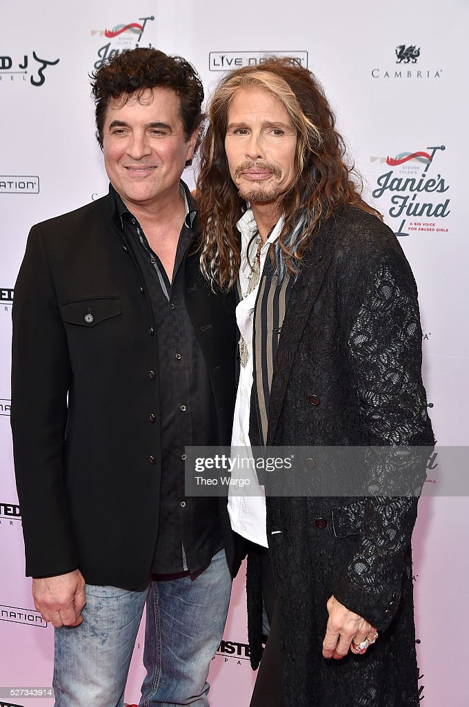 Scott Borchetta of Big Machine Records and Steven Tyler attend 'Steven Tyler...Out on a Limb' Show to Benefit Janie's Fund in Collaboration with Youth Villages - Red Carpet at David Geffen Hall on May 2, 2016 in New York City.