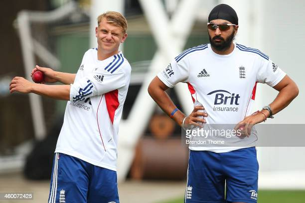 Scott Borthwick and Monty Panesar of England prepare to bowl during an England training session at Sydney Cricket Ground on January 2 2014 in Sydney...