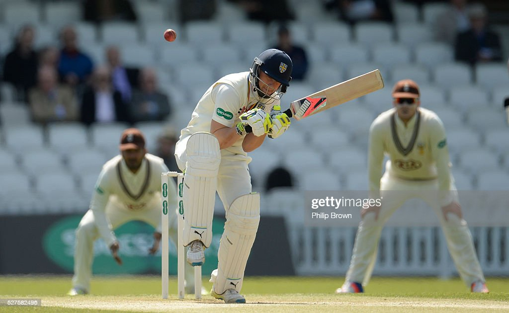Scott Borthwick of Durham avoids a bouncer during day three of the Specsavers County Championship Division One match between Surrey and Durham at the Kia Oval on May 3, 2016 in London, England.
