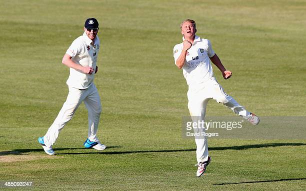 Scott Borthwick of Durham celebrates after taking the wicket of Maurice Chambers first ball during the fourth day of the LV County Championship...