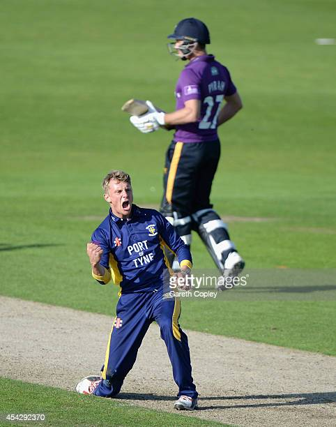 Scott Borthwick of Durham celebrates dismissing Gary Ballance of Yorkshire during the Royal London OneDay Cup 2014 Quarter Final between Yorkshire...
