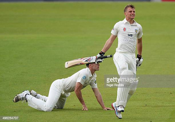 Scott Borthwick of Durham celebrates scoring a double century during The LV County Championship match between Durham and Middlesex at The Riverside...