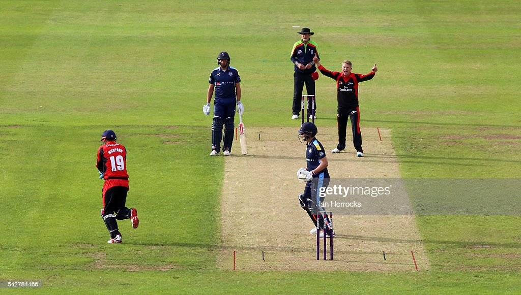 Scott Borthwick of Durham (top R) celebrates taking the wicket of Gary Ballance of Yorkshire with Phil Mustard taking the catch during the NatWest T20 Blast game between Durham Jets and Yorkshire Vikings at Emirates Durham ICG on June 24, 2016 in Chester-le-Street, England.
