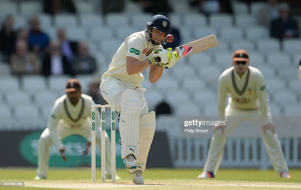 Scott Borthwick of Durham faces a bouncer during day three of the Specsavers County Championship Division One match between Surrey and Durham at the Kia Oval on May 3, 2016 in London, England.