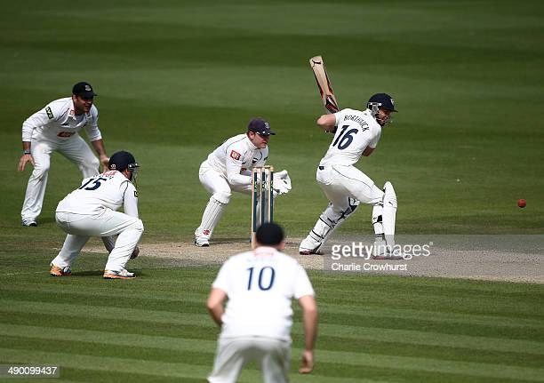 Scott Borthwick of Durham hits out during day three of the LV County Championship match between Sussex and Durham at The BrightonandHoveJobscom...