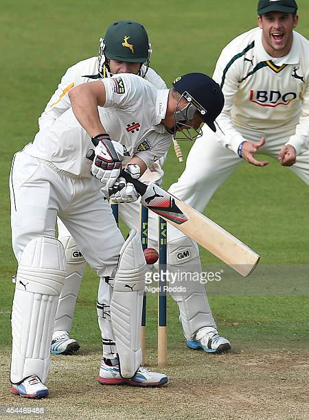 Scott Borthwick of Durham is bowled out by Gary Keedy during the LV County Championship match between Durham and Nottinghamshire at The Riverside on...