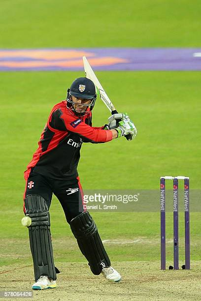 Scott Borthwick of Durham Jets bats during the NatWest T20 Blast match between Yorkshire Vikings and Durham Jets at Headingley on July 20 2016 in...