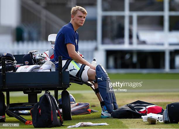 Scott Borthwick of Durham looks on in a practice session during previews for the Royal London OneDay Cup 2014 Final at Lord's Cricket Ground on...