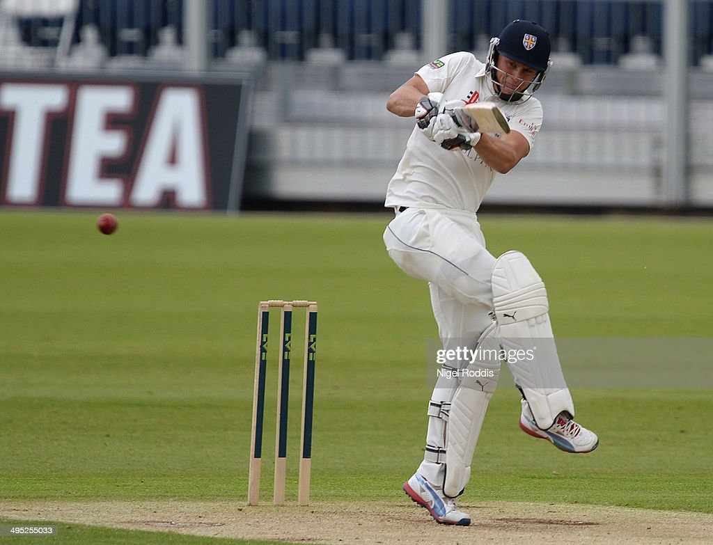 <a gi-track='captionPersonalityLinkClicked' href=/galleries/search?phrase=Scott+Borthwick&family=editorial&specificpeople=5644012 ng-click='$event.stopPropagation()'>Scott Borthwick</a> of Durham plays a shot during The LV County Championship match between Durham and Middlesex at The Riverside on June 2, 2014 in Chester-le-Street, England.