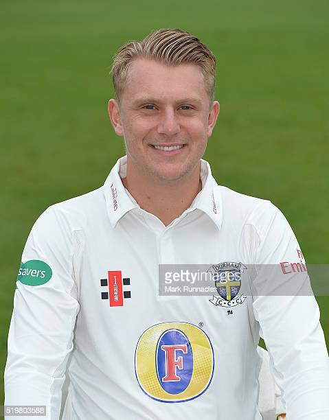 Scott Borthwick of Durham poses for a photograph during the Durham County Cricket Club photocall at the Riverside on April 8 2016 in ChesterLeStreet...