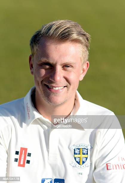 Scott Borthwick of Durham poses for a portrait during the Durham CCC Photocall at The Riverside on March 31 2015 in ChesterleStreet England