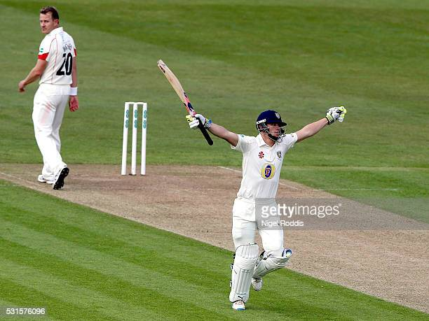 Scott Borthwick of Durham reacts after reaching 100 during the Specsavers County Championship Division One match between Durham and Lancashire at the...