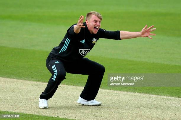 Scott Borthwick of Surrey appeals unsuccessfully during the Royal London OneDay Cup match between Surrey and Kent at The Kia Oval on May 12 2017 in...