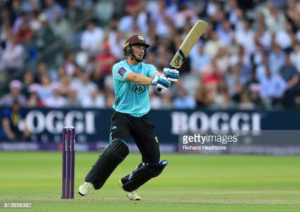 Scott Borthwick of Surrey bats during the NatWest T20 Blast match between Middlesex and Surrey at Lord's Cricket Ground on July 13 2017 in London...