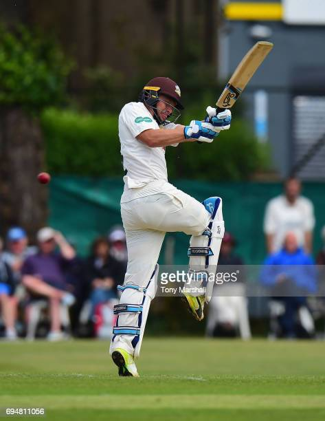 Scott Borthwick of Surrey bats during the Specsavers County Championship Division One match between Surrey and Essex at Guildford Cricket Club on...