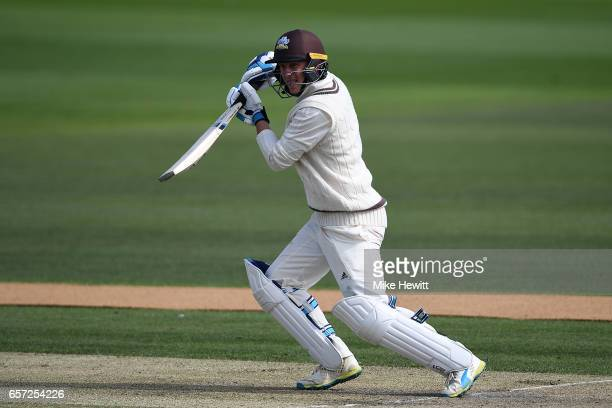 Scott Borthwick of Surrey in action during a friendly match between Sussex and Surrey at The 1st Central County Ground on March 24 2017 in Hove...