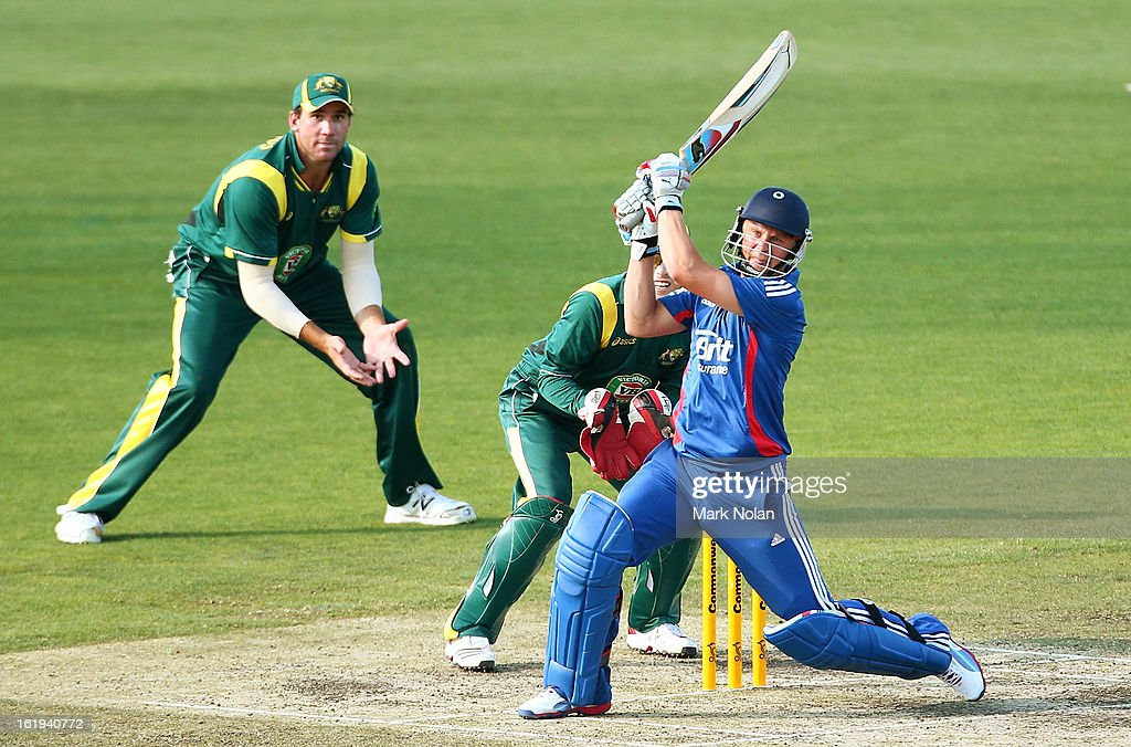 Scott Borthwick of the Lions bats during the international tour match between Australia 'A' and England at Blundstone Arena on February 18, 2013 in Hobart, Australia.