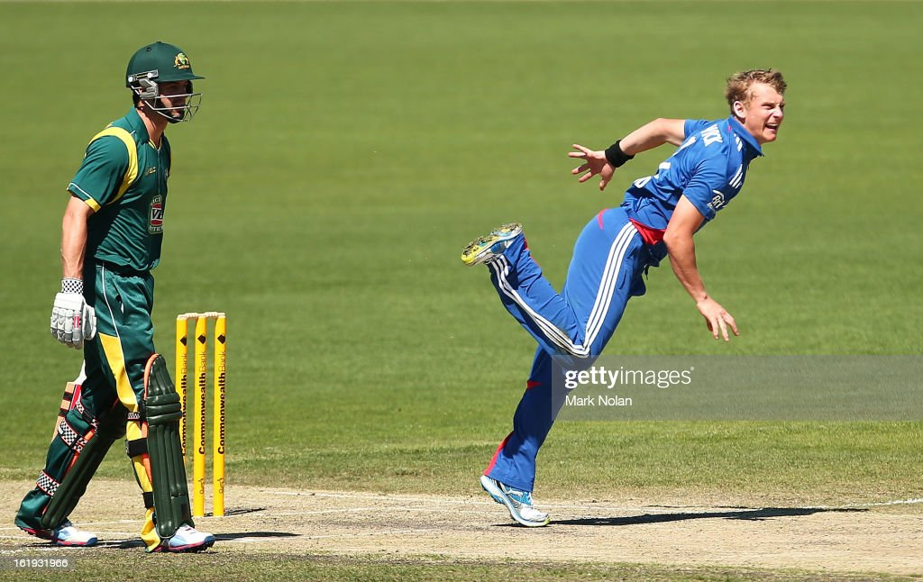Scott Borthwick of the LIons bowls during the international tour match between Australia 'A' and England at Blundstone Arena on February 18, 2013 in Hobart, Australia.