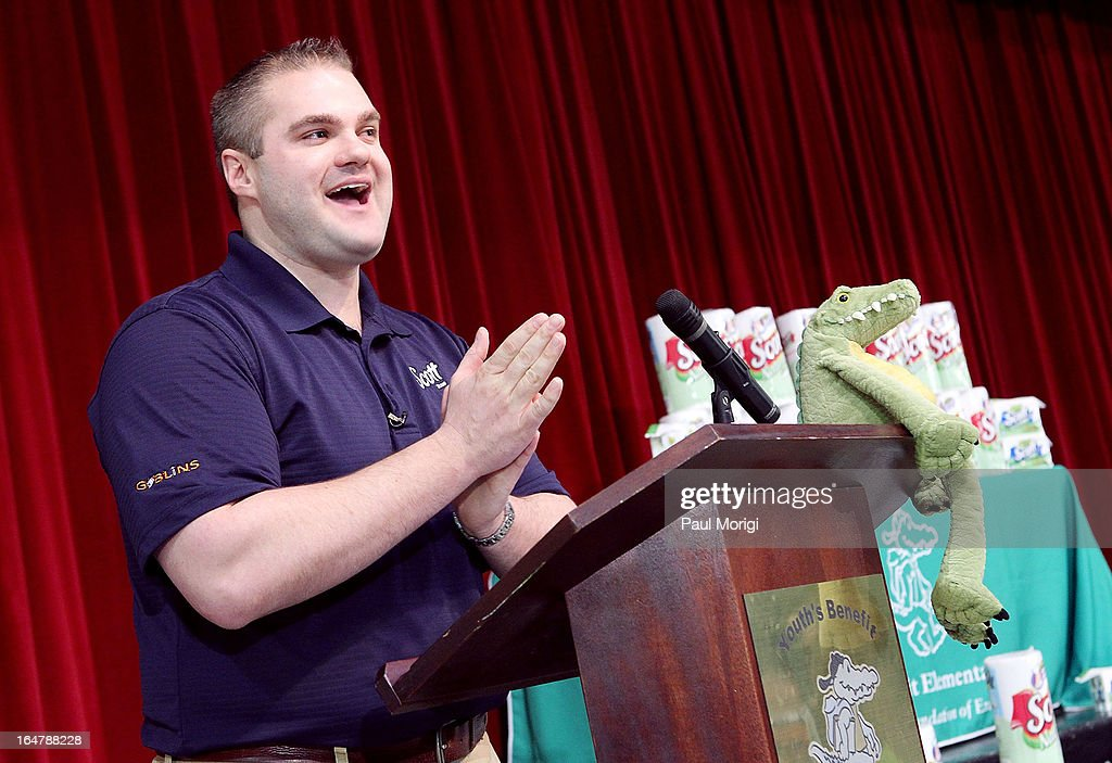 Scott Brand Manager Ben Johnson speaks to students at a school assembly to celebrate the Scott Shared Values Sweepstakes award of $25,000 to Youth's Benefit Elementary School on March 28, 2013 in Fallston, Maryland.
