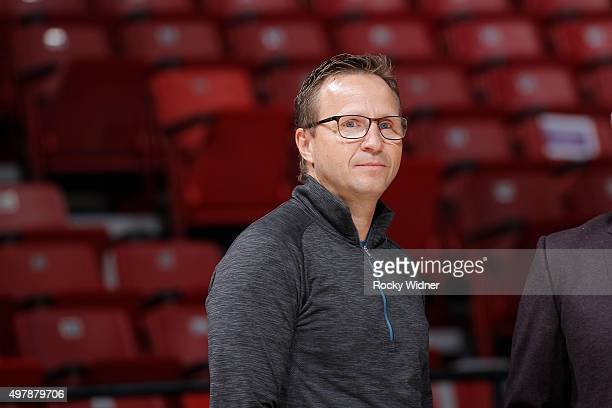 Scott Brooks attends the game between the Toronto Raptors and Sacramento Kings on November 15 2015 at Sleep Train Arena in Sacramento California NOTE...