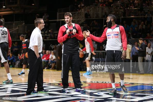 Scott Brooks Coach Kevin Love and James Harden of the Western Conference AllStars talk during the NBA AllStar Practices at Sprint Arena as part of...
