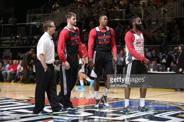 Scott Brooks Coach Kevin Love Dwight Howard and James Harden of the Western Conference AllStars talk during the NBA AllStar Practices at Sprint Arena...