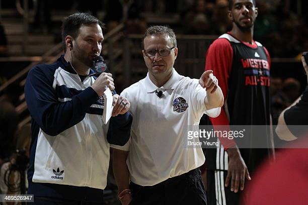 Scott Brooks Coach of the Western Conference AllStars is interviewed during the NBA AllStar Practices at Sprint Arena as part of 2014 NBA AllStar...