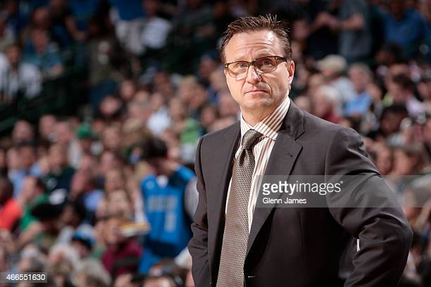 Scott Brooks head coach of the Oklahoma City Thunder during a game against the Dallas Mavericks on March 16 2015 at the American Airlines Center in...