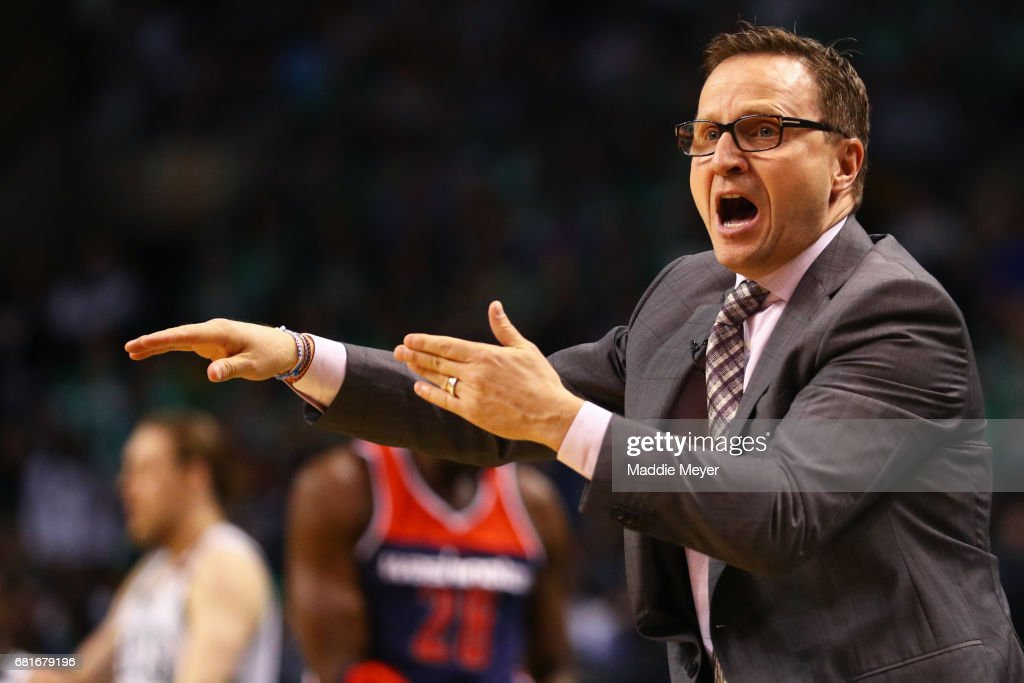 Scott Brooks Head Coach of the Washington Wizards reacts to a foul called against his team during the first quarter of Game Five of the Eastern Conference Semifinals against the Boston Celtics at TD Garden on May 10, 2017 in Boston, Massachusetts.