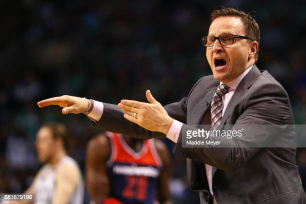 Scott Brooks Head Coach of the Washington Wizards reacts to a foul called against his team during the first quarter of Game Five of the Eastern...