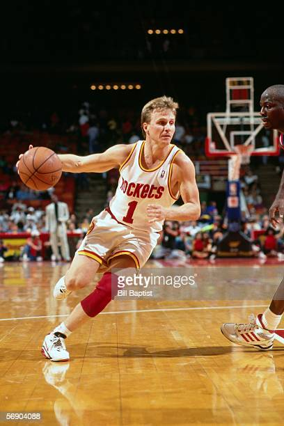 Scott Brooks of the Houston Rockets drives to the basket against the Portland Trail during game 5 of the first round of the 1993 NBA Western...