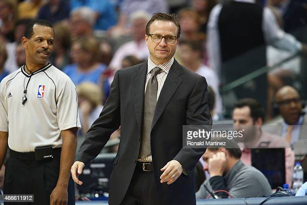Scott Brooks of the Oklahoma City Thunder at American Airlines Center on March 16 2015 in Dallas Texas NOTE TO USER User expressly acknowledges and...