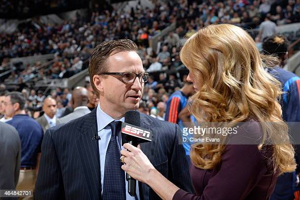 Scott Brooks of the Oklahoma City Thunder is interviewed by Heather Cox of EPSN during the Oklahoma City Thunder vs the San Antonio Spurs game at the...