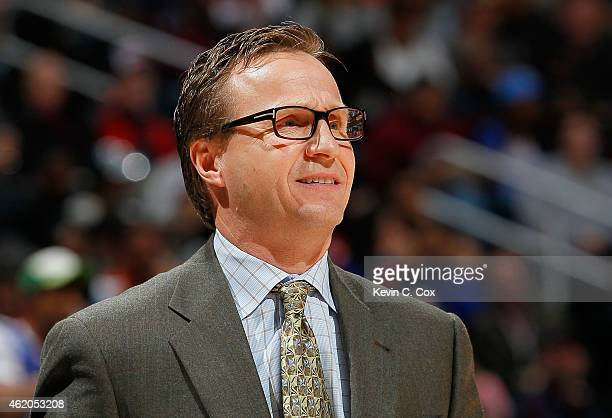 Scott Brooks of the Oklahoma City Thunder looks on during the game against the Atlanta Hawks at Philips Arena on January 23 2015 in Atlanta Georgia...